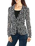 Allegra K Women's Shawl Collar Sheer Floral Lace Blazer Jacket S White