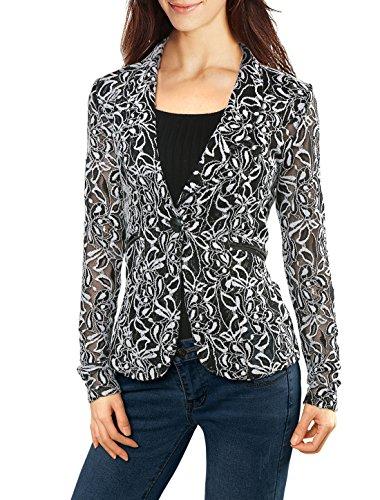 Allegra K Women's Shawl Collar Sheer Floral Lace Blazer Jacket M White Lace Sheer Coat