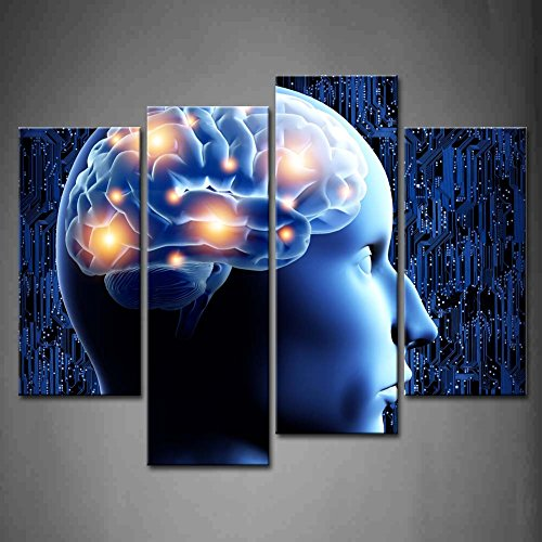 First Wall Art - 4 Panel Wall Art Blue Brain Illustration Blue Painting Pictures Print On Canvas Abstract The Picture For Home Modern Decoration piece (Stretched By Wooden Frame,Ready To Hang)