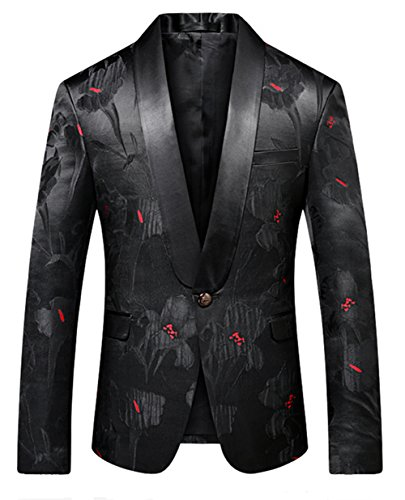 MOGU Men Slim Fit Blazer Suit Jacket Black Printed Jacquard Sport Coat US Size 35 (Asian Size XL/52) ()