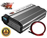 HammerDown 2000 Watt 12V Power Inverter - Dual 110V AC outlets, Automotive back up power supply for refrigerators, microwaves, Blenders, vacuums, power tools and more. MET approved to UL and CSA