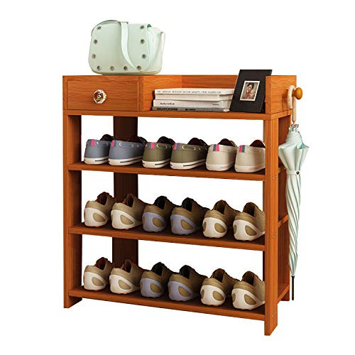 Jerry & Maggie - 3 Tier Wood MDF Board Shoe Rack Shelf with One Drawer Clothes Rack Shoe Storage Shelves Free Standing Flat Racks Classic Style - Multi Function Shelf Organizer - Natural Wood Tone ()