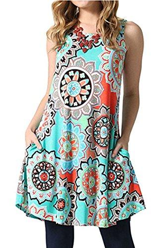 Bohemian Sleeveless (SimpleFun Women's Summer Sleevless Bohemian Print Tunic Swing Loose Pockets T-Shirt Dress(Light Blue,XL))