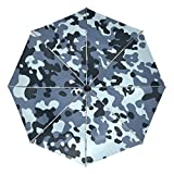 Blue Military Camouflage Texture Compact Travel Inverted Umbrella, Outdoor Rain Sun Car Folding Reversible Umbrellas for Windproof, Reinforced Canopy, UV Protection, Ergonomic Handle, Auto Open/Close