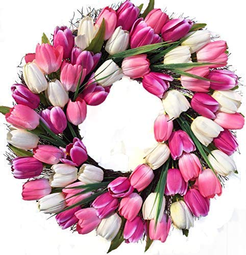 Spring-Indulgence-Pink-and-White-Tulip-Wreath-Indoor-Outdoor-22-Inch-Wreath-for-Front-Door-Spring-Decoration-Valentines-Day-Easter-Mothers-Day