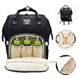 Diaper Bag Multi-Function Waterproof Travel Backpack Nappy Bags for Baby Care, Large Capacity, Stylish and Durable, Mom Bag by Lifecolor (Black) Image