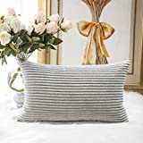 HOME BRILLIANT Thanksgiving Decorative Plush Velvet Corduroy Striped Throw Pillow Sham Pillow Case Cushion Cover for Lumbar, 12 x 20, Light Grey