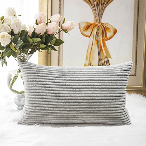 HOME BRILLIANT Decorative Plush Velvet Corduroy Striped Throw Pillow Sham Pillow Case Cushion Cover for Lumbar, 12 x 20, Light (Lumbar Pillow Cover)
