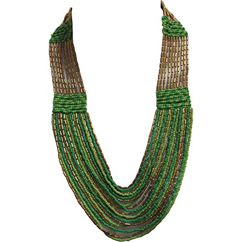 [Bohemian Gypsy Vintage Handmade Green & Gold Multistrand Layered Bead Long Fashion Necklace] (1940s Dance Costumes)