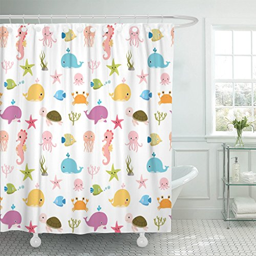 TOMPOP Shower Curtain Blue Cute Colorful Sea Animals and Baby Summer Designs Waterproof Polyester Fabric 72 x 72 Inches Set with Hooks -