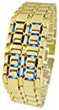Youyoupifa Men's Stainless Steel Lava Blue LED Digital Bracelet Watch (Gold)