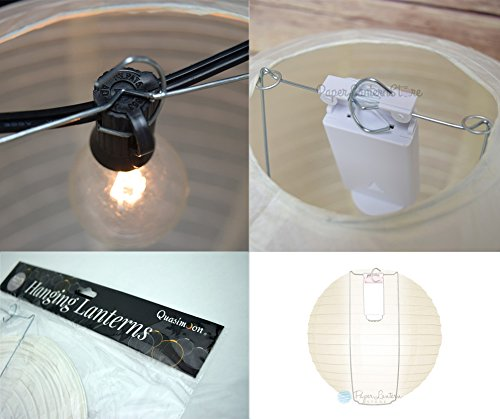PaperLanternStore.com BULK CASE 12'' White Round Paper Lantern, Hanging Decorations, Even Ribbing, Hanging Decoration (100 Pack) by Quasimoon (Image #4)