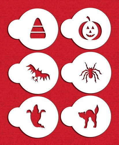 Designer Stencils C065 Halloween Cupcake and Cookie Stencil Set with Cat, Candy Corn, Spider, Ghost, Bat and Pumpkin, Beige/semi-transparent by Designer (Halloween Cat Pumpkin Stencil)