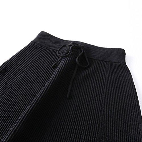 Tricot Avec Sauvage Noir En vas Maxi Unie Confortable ZhiYuanAN A Jupe Tricot Cordon Line Femmes Ample Jupe Casual Couleur Fluide Longue wpxqp64Y0