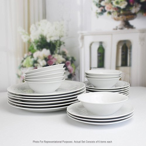 Winnsoma Elegante 18-Piece White Porcelain Dinnerware Set, Service For 6. Complete Set With 6 Dinner Plates, 6 Side Plates And 6 Small Bowls by Winnsoma (Image #6)