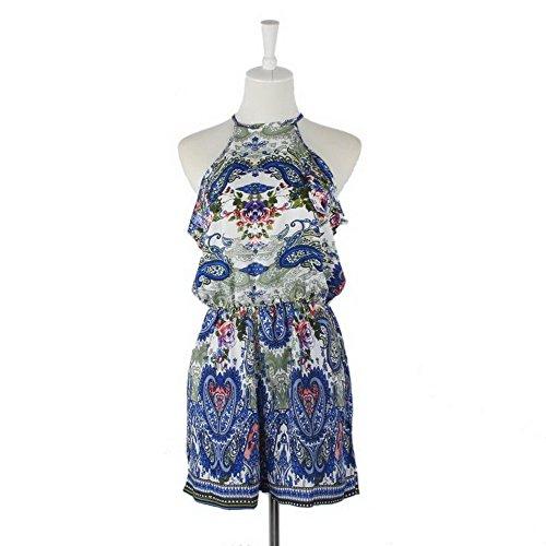 [Sexy Women Strap Sleeveless Blue Floral Mini Jumpsuit Rompers (XL)] (Straps Neckline Mini)