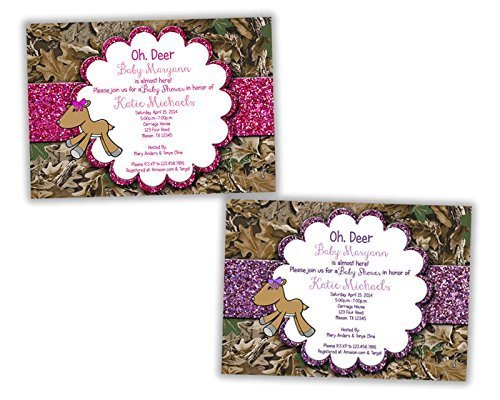 Glitter Camo Deer Baby Shower Invitation for Girl Camouflage Pink Purple]()