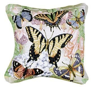 Set of 2 Decorative Butterfly Freedom and Flowers Tapestry Throw Pillows 12