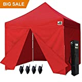 Eurmax 10 X 10 Ez Pop up Canopy Gazebo Commercial Tent with 4 Zippered Side Walls and Carry Bag, Red Review