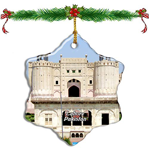 Fcheng Lahore Fort Pakistan Christmas Ceramic Ornament Tree Decor City Travel Souvenir Double Sided Snowflake Sublimation Porcelain Hanging Ornament]()