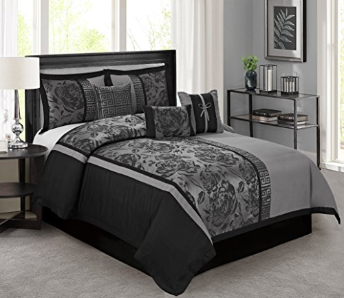 7 Piece Peony Jacquard Fabric Patchwork Comforter Set Queen King CalKing Size (Queen, Gray) (Peony Set Comforter)