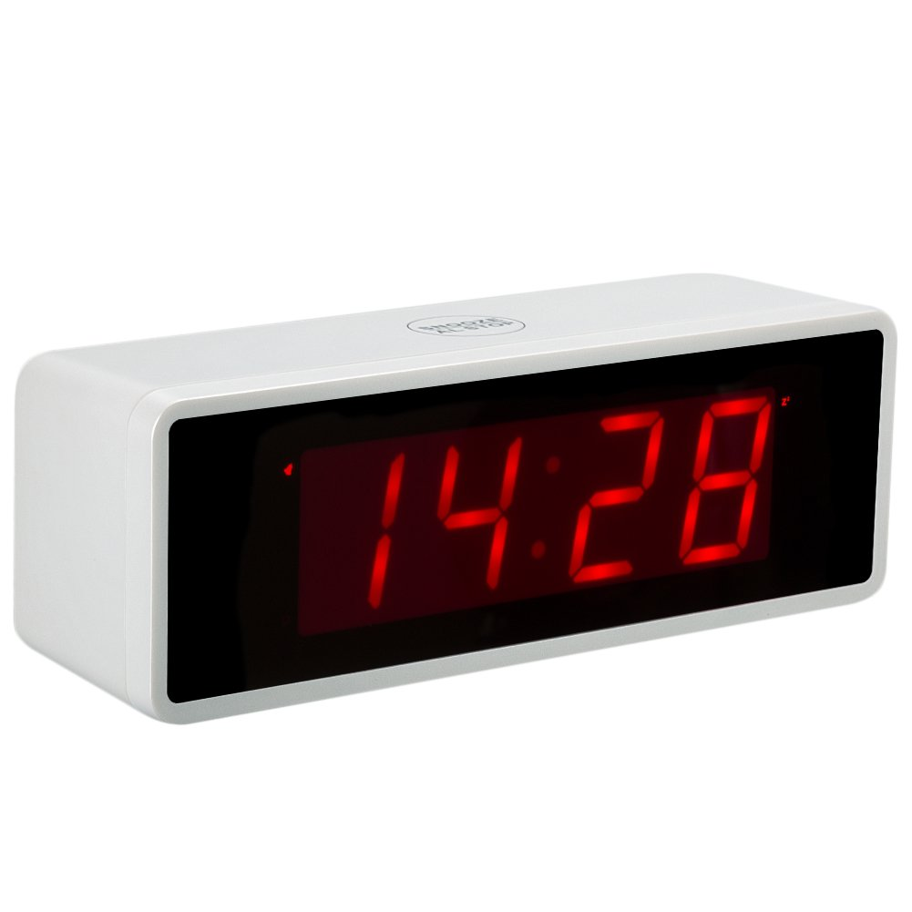 Kwanwa Desk LED Alarm Clock Battery Powered Only,2 Batteries Keep Large 1.4'' Red LED Numbers Display More Than 1 Year,Can Be Placed Anywhere Without A Cumbersome Cord Guangkehua KW1028SW-V2