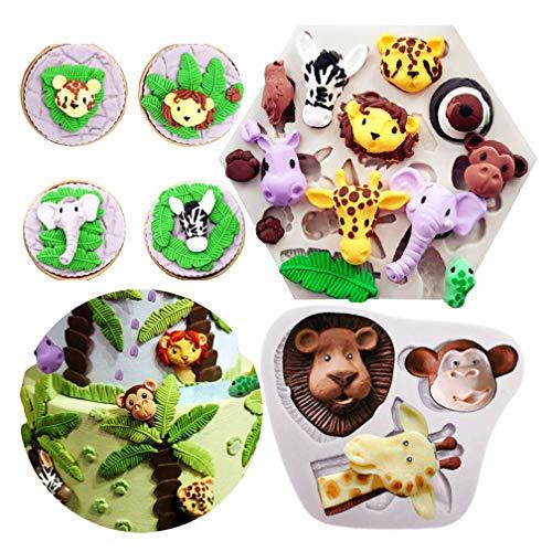 Yawooya Safari Animal Mold Fondant- Forest Woodland Animals Cake Decorating Wild Zoo Silicone Mold for Chocolate Candy Gum Paste Clay Sugar Craft Cupcake Topper Supplies (Elephant Lion Giraffe Monkey
