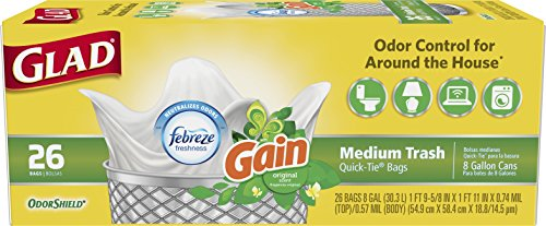 Glad OdorShield Quick-Tie Medium Trash Bags - Gain Original with Febreze Freshness ,8 Gallon, 26 Count (Pack of 6) (Bag Quick)