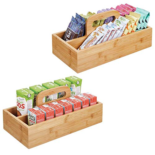 (mDesign Bamboo Wood Food Storage Container, Divided Bin with Carrying Handle for Kitchen Cabinet, Pantry, Shelves to Organize Seasonings, Spice Bottles, Salt and Pepper, 2 Pack - Natural Finish)