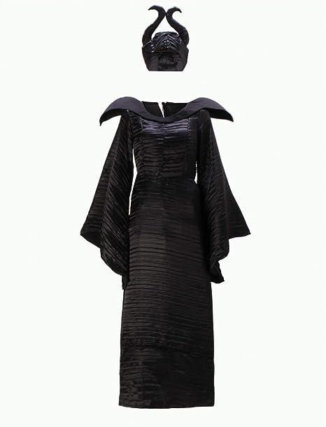 GBYAY Disfraz de Bruja de Halloween maléfica para Mujeres Adultas Vestido de Bruja Malvada Traje de Sombrero de Cuerno: Amazon.es: Deportes y aire libre