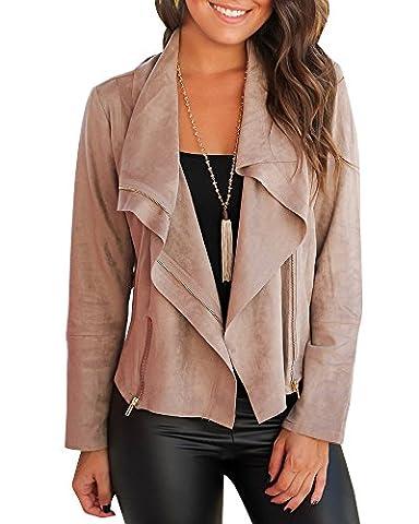 Mafulus Women Autumn Lightweight Jackets Faux Suede Zipper Solid Coat Tops Outwear - Faux Suede Blazer