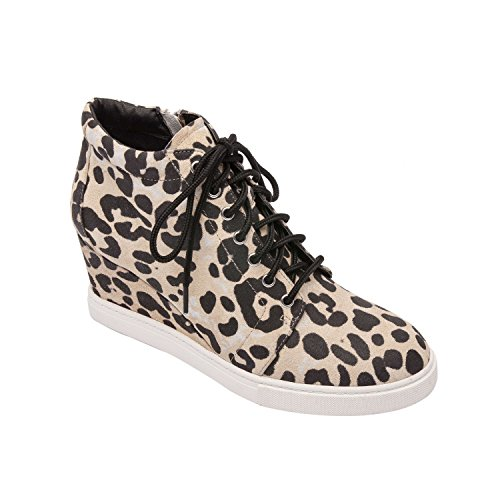 (Pic & Pay Zoe | Platform Wedge Bootie Suede Laced Fashion Sneaker Comfortable Insole Padded Arch Support Leopard Print Suede 7M)