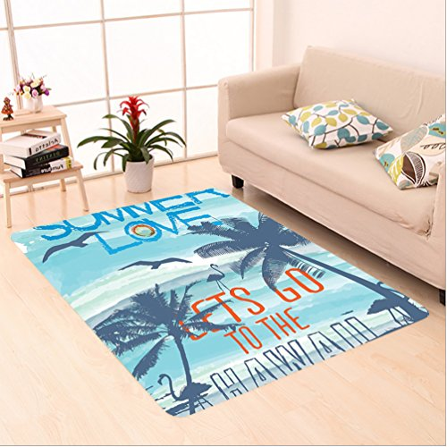 Nalahome Custom carpet ve Lets Go to the Hawaii Sunset at Tropical Beach with Flying Birds Walking Flamingos Image Blue area rugs for Living Dining Room Bedroom Hallway Office Carpet (6' X 9') by Nalahome
