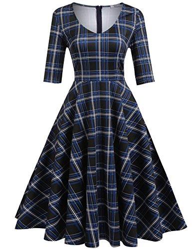 - ELESOL Women's Solid Flare Dress 3/4 Sleeve A Line Tea Dress, DBL/M