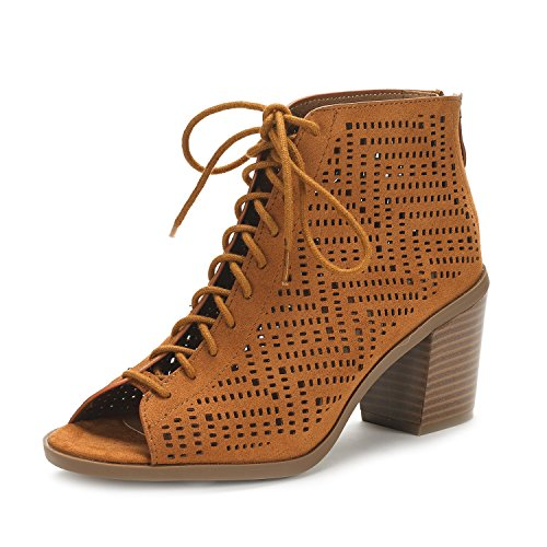 DREAM PAIRS Women's Egypt Tan Suede Mid Heel Ankle Bootie Shoes - 10 M US