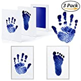 3 Pack Premium No-Mess Ink Baby Footprint & Handprint Ink Pad Safe and Non-Toxic Ink Perfect New Baby (Blue)