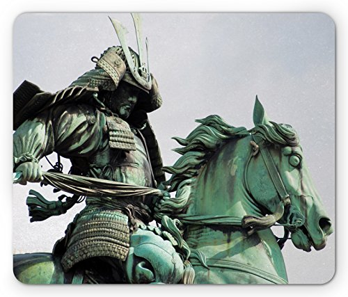 Lunarable Retro Mouse Pad, Samurai Worrior Riding Horse City Park in Tokyo History Travel, Standard Size Rectangle Non-Slip Rubber Mousepad, Mint Green Black]()