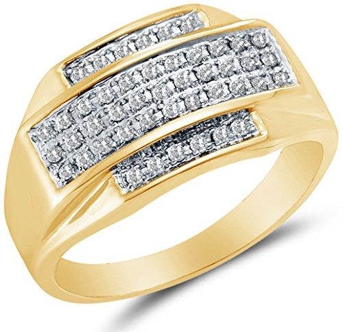 Size 9.75 - 10K Yellow Two Tone Gold Round Diamond Mens Wedding Band Ring - Micro Pave Setting