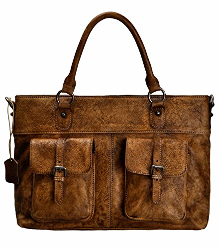 ZLYC Women Handmade Dip Dye Leather Top Handle Briefcase Laptop Messenger Handbag Cross Body Bag, Brown