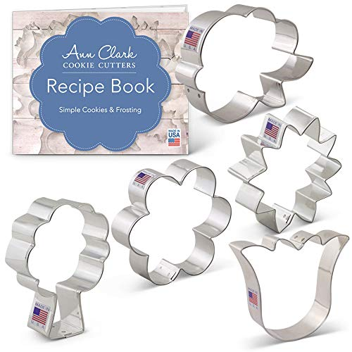 Flower Bouquet Cookie Cutter Set with Recipe Booklet - 5 piece - LilaLoa's Rose, Sunflower, Tulip, Flower and Tree/Bouquet - Ann Clark - USA Made -