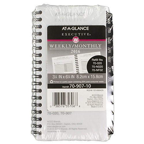 AT-A-GLANCE Executive Weekly / Monthly Planner Refill 2016, 3.75 x 6.25 Inches (7090710)