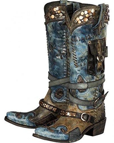 Lane Womens Pour Double D Ranch Frontière Trappeur Cowgirl Boot Snip Toe - Dd9004b Noir