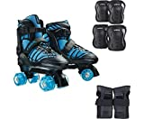DBX Boys' Express Adjustable Roller Skate Package, Blue (Shoe Size: Large)