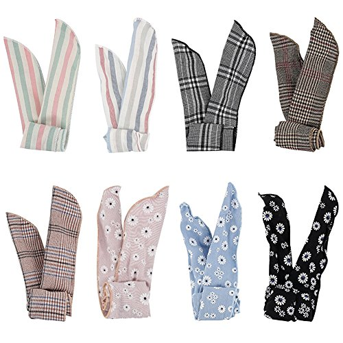 Kaide 8 Pcs Wire Bunny Ear Headband Hair Wrap Bow Pin-Up Anti-Slip Design Girl Twisted Tie Fashion (Tie Hair Wrap)