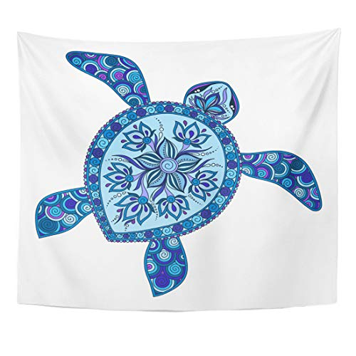 Semtomn Tapestry Blue Sea Graphic Turtle Tattoo Tribal Totem Animal Lace Home Decor Wall Hanging for Living Room Bedroom Dorm 50x60 - Turtle Totem Animal