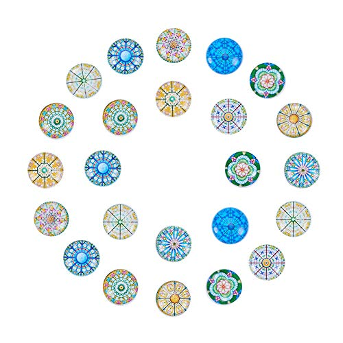 (PH PandaHall 40PCS 18mm Round Flatback Glass Dome Cabochons Gems Jewelry Making Handcrafts Scrapbooking (Kaleidoscope Pattern))