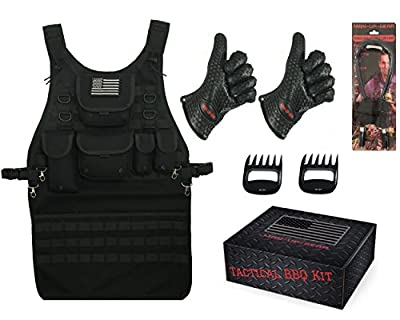 Tactical BBQ Gift Set with Grilling Apron, Heat-Resistant Gloves, BBQ Light, and Meat Shredding Claws by Man-Up-Gear