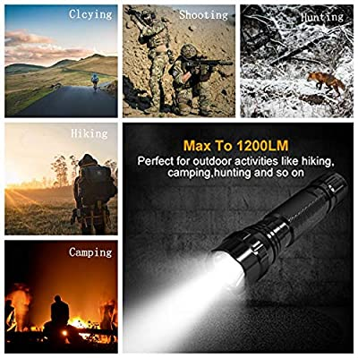 BOODMENT Tactical Flashlight 1200 Lumen LED Hunting Light with Offset Picatinny Rail Mount Pressure Switch 18650 Rechargeable Battery for Outdoor Hunting
