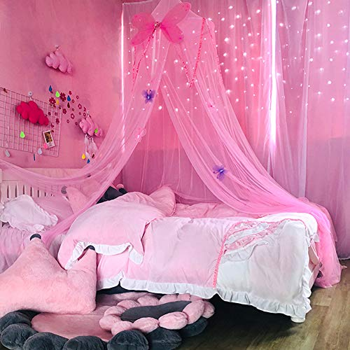 Canopy Girls Princess Lightweight Mosquito Net Reading Mesh Crib Netting Kids und Dome Hung om Butterfly Play Bed(Pink)