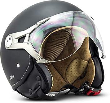 Soxon Sp 325 Mono Night Jet Helm Motorrad Helm Roller Helm Scooter Helm Moped Mofa Helm Chopper Retro Vespa Vintage Pilot Biker Helmet Ece 22 05 Visier Schnellverschluss Tasche L 59 60cm Auto